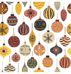 christmas seamless pattern retro ornaments vector image