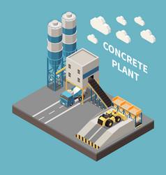 Concrete cement production isometric composition vector