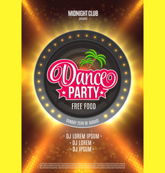 Dance Party Night Poster Background Template - vector