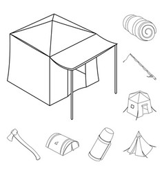 different kinds of tents outline icons in set vector image
