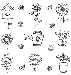 Doodle of spring flower set vector image