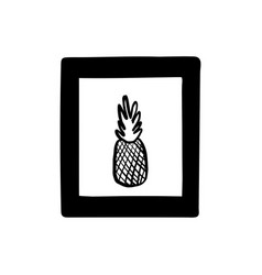 Doodle picture in a frame poster with pineapple vector