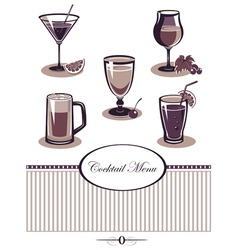 Drinks icons set purple menu vector