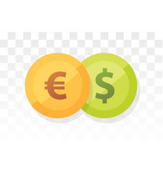 euro vs american dollar - currency pair on vector image