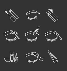 Eyebrows shaping chalk icons set vector