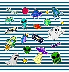 Fashion patch badges with different elements UFO vector image