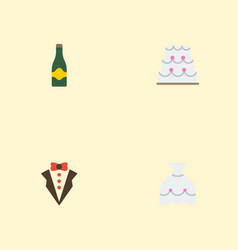 Flat icons patisserie fizz wedding gown and vector