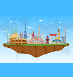 Floating island with famous world landmarks vector