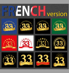 french set of number 33 templates vector image