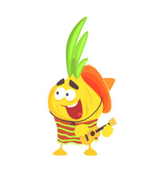 Funny cartoon onion character in traditional vector