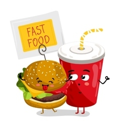 Funny take away glass and burger cartoon character vector