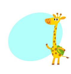 Giraffe animal student character with backpack vector