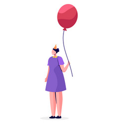 Girl standing alone with pink balloon in hands vector