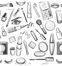 Glamorous make-up seamless pattern vector image