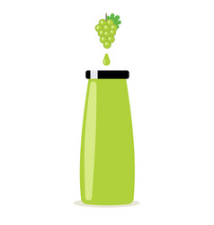 grape juice in bottle with grapes leaves and vector image