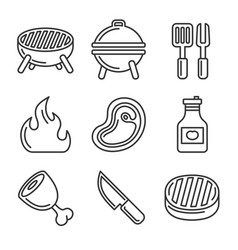 grill and barbecue icons set line style vector image