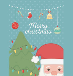 hanging balls tree lights and santa merry vector image