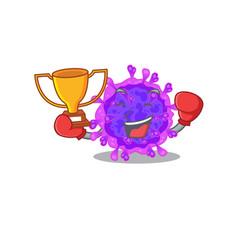 Happy face boxing winner alpha coronavirus vector