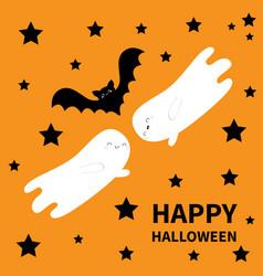happy halloween two flying bat ghost spirit black vector image
