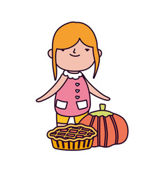 happy thanksgiving day cute little girl with pie vector image