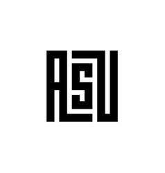 Initial letter asu logo emblem black and white vector