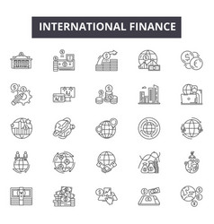 international finance line icons for web and vector image