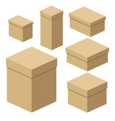 isometric craft boxes of different sizes for vector image