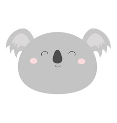 koala bear round face head icon kawaii animal vector image