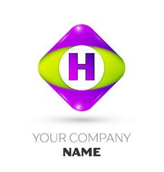 Letter h logo symbol in colorful rhombus vector
