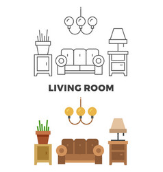 Living room concept - flat and line style living vector