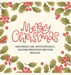 merry christmas lettering postcard vector image