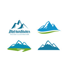 Mountains rock logo or label mountaineering vector