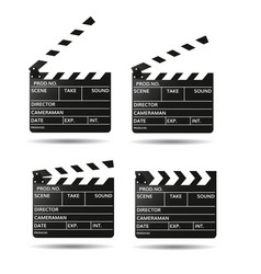 Movie clapper board black open clapperboard vector