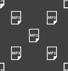 mp3 icon sign Seamless pattern on a gray vector image