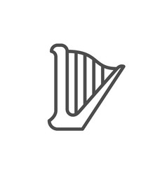 Musical instrument harp line outline icon vector