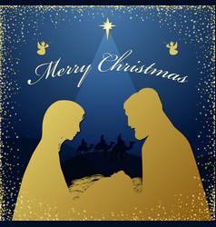 Nativity scene angels wise men glittering vector