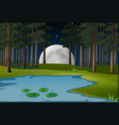 nature scene with fullmoon and pond in forest vector image
