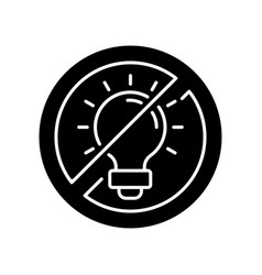 No bright light black glyph icon vector