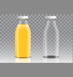 Orange juice glass bottle mockup set vector