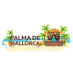Palma de mallorca travel palm drink summer vector