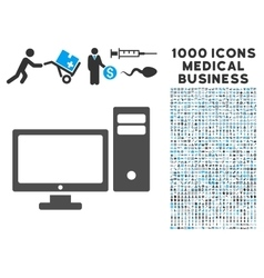 Personal Computer Icon with 1000 Medical Business vector