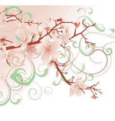 pink blossom spring flowers tree pastel colors vector image