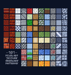 pixel art style set of different 16x16 texture vector image