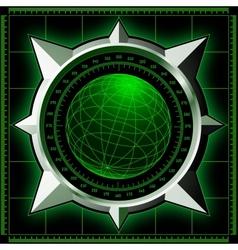 Radar screen with steel compass rose vector image