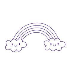 Rainbow clouds fantasy magic cartoon icon design vector