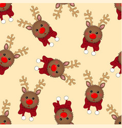 reindeer with red scarf on ivory beige background vector image