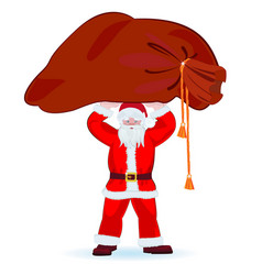 Santa claus holds a large bag gifts over his vector