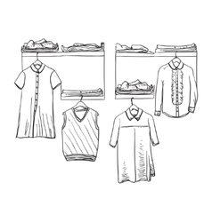 School uniform Clothes on the hanger Wardrobe vector