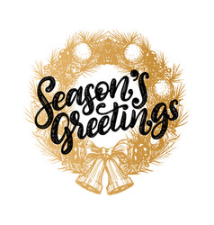 seasons greetings design of handwritten vector image
