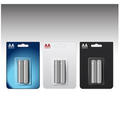 set of glossy alkaline aa batteries in blue vector image